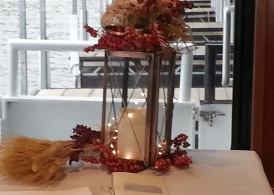 Lantern center piece with marriage licence