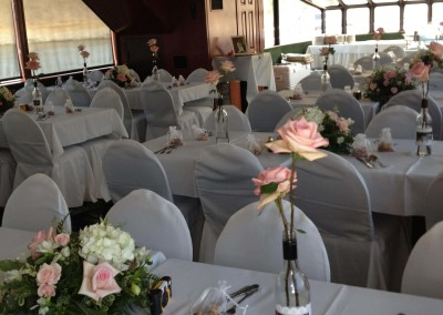 White lines with chair covers
